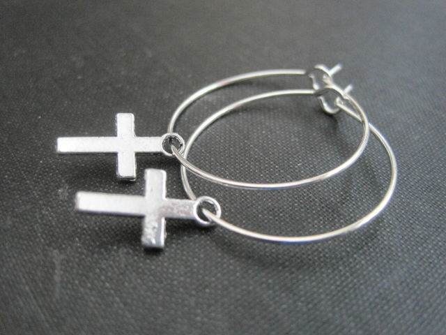Mini Cross Hoop Earrings - product images  of