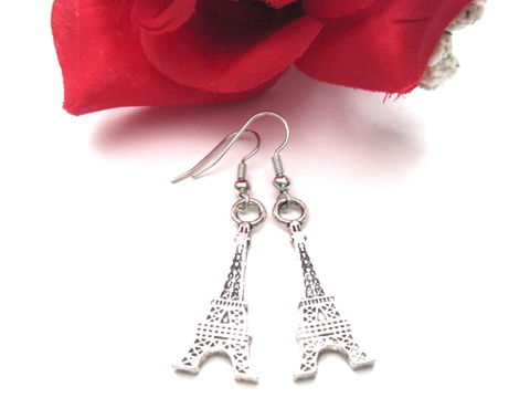 Antique,Silver,Eiffel,Tower,Dangle,Earrings,eiffel tower, earrings, paris, french, love, valentines day, vamps jewelry, france, europe, silver, antique silver, steampunk