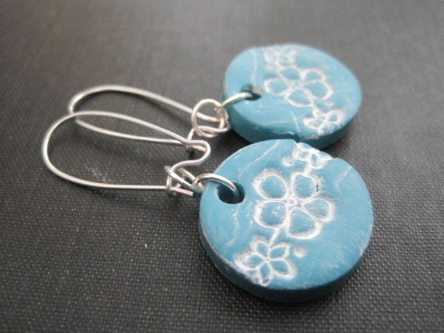 Turquoise Blue Flower Blossom Polymer Clay Earrings - product images  of