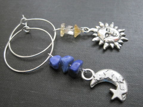 Sun,Moon,Hoop,Gemstone,Earrings,Citrine,Blue,Sodalite,Sun Moon Hoop Gemstone Earrings, blue soalite, citrine, nugget earrings