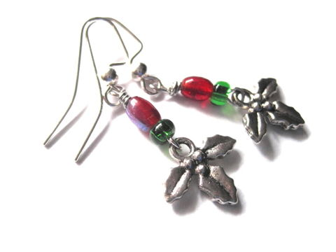Christmas,Holly,Dangle,Earrings,Holiday, Holly Dangle Earrings, Holiday Earrings, handmade jewelry