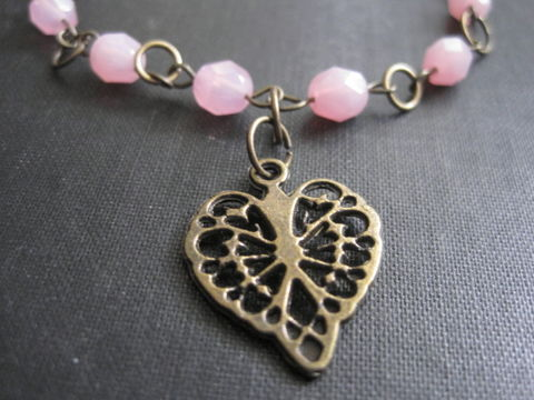 Antique,Brass,Heart,Pink,Glass,Bracelet,Vintage,Inspired,Antique Brass Heart Pink Glass Bracelet Vintage Inspired