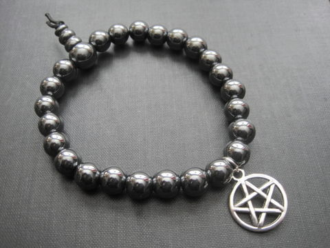 Hematite,Pentacle,Gemstone,Stretch,Bracelet,Hematite Pentacle Gemstone Stretch Bracelet, hand embellished jewelry, gemstone jewelry