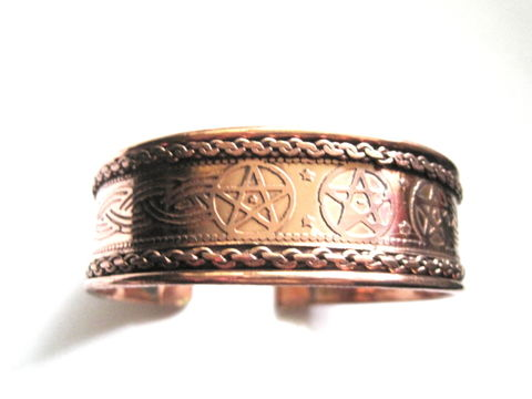 Copper,Pentacle,Cuff,Bracelet,Copper Pentacle Cuff Bracelet
