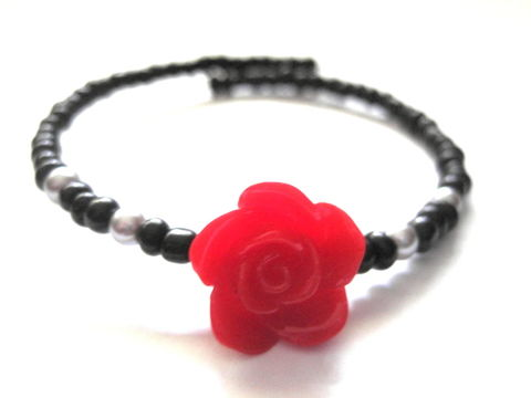 Rose,Memory,Wire,Cuff,Bracelet, Memory Wire Cuff Bracelet, red rose bracelet, arm candy bracelets