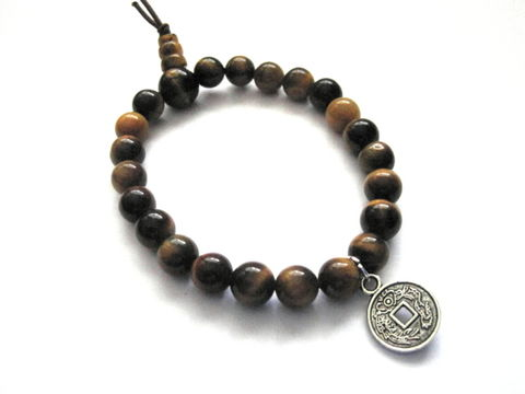 Chinese,Lucky,Coin,Tiger,Eye,Bracelet,Chinese Lucky Coin Tiger Eye Bracelet