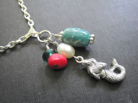 Sea,Mermaid,Green,Agate,Red,Coral,Pearl,Necklace,song to the siren, siren, mermaid, sea, sea mermaid, necklace, green agate, red coral, fresh water pearl, sea jewelry, mystical jewelry, handmade, wire wrapped, vamps jewelry, nautical jewelry, oceanic jewelry, beach jewelry