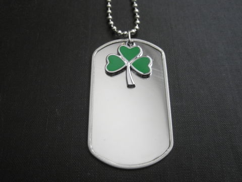 Green,Clover,Dog,Tag,Necklace,Green Clover Dog Tag Necklace, irish jewelry, shamrock, unisex jewelry