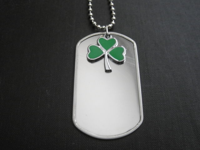 Green Clover Dog Tag Necklace - product images  of