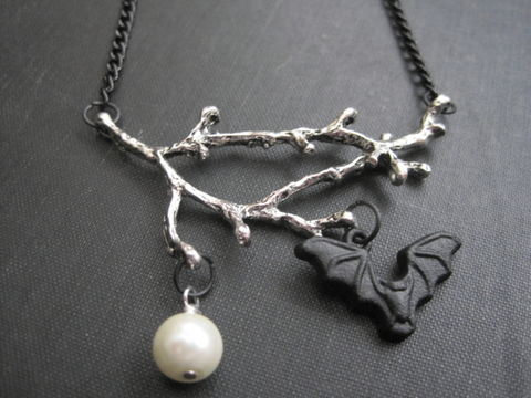 Gothic,Dead,Branch,Bat,Necklace,Gothic Dead Branch Bat Necklace, nocturnal jewelry, vamps jewelry, gothic necklace, bat, branch