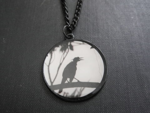 Gothic,Raven,Cabochon,Necklace,Gothic Raven Cabochon Necklace, raven, vamps jewelry, crow, gothic jewelry, black bird, bird, black necklace, poe necklace, the raven