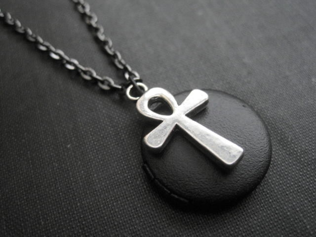 Gothic Ankh Black Locket Necklace - product images  of