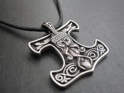 Thors,Hammer,Norse,Amulet,Cord,Necklace,Thors Hammer Norse Amulet Cord Necklace, wiccan jewelry, pagan jewelry, norse jewelry, unisex necklace, mystic jewelry