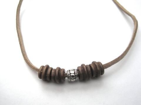 Wood,&,Metal,Bead,Suede,Cord,Necklace,Wood & Metal Bead Suede Cord Necklace, unisex cord necklace, earth jewelry, surfer necklace, beach jewelry