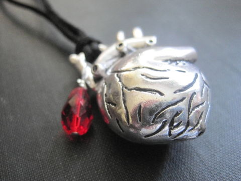 Anatomical,Heart,Blood,Drop,Cord,Goth,Necklace,Anatomical Heart Blood Drop Cord Goth Necklace, 3-D anatomical heart, gothic jewelry, handmade jewelry