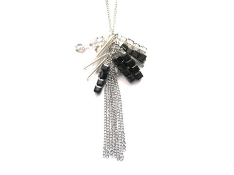 Metal,Tassel,Bling,Necklace,Metal Tassel Bling Necklace