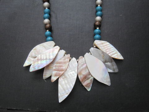 Mother,of,Pearl,Shell,Necklace,,Teal,Brown,Glass,Beads,mother of pearl shell necklace, handmade, pearls, glass, mother of pearl, shell, glass beads, teal, brown, tan, summer, oceanic,