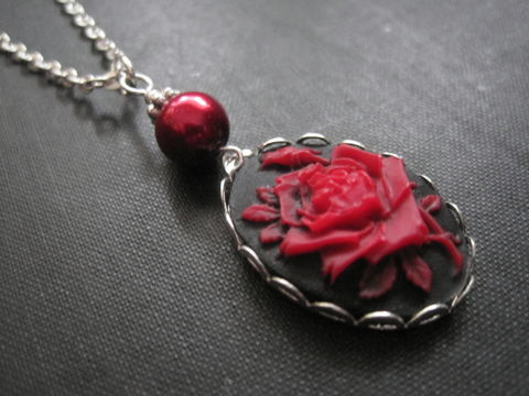 Red,Rose,Cameo,Necklace,Red Rose Cameo Necklace, handmade jewelry, red pearl, red rose pearl necklace, gothic rose necklace, victorian red rose necklace, red, black, silver