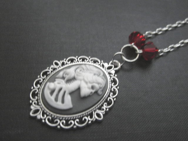 Dead Girl Skeleton Cameo Gothic Necklace - product images  of