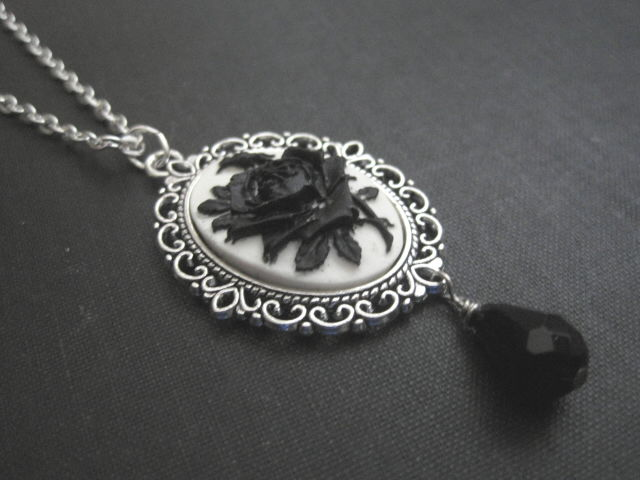 f06296bac90 Gothic Black Rose Cameo Necklace - Vamps Jewelry Gothic Victorian ...