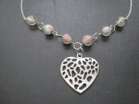 Heart,and,Pink,Roses,Love,Necklace,,Vintage,Style,Necklace,Heart and Pink Roses Love Necklace, Vintage Style Necklace, metal heart,glass rose beads,jumprings,lobster claw clasp,chain,eyepins,victorian, romantic, heart, vintage look, love, metal, silver, pink, feminine, glass beads, vamp, cyber2011