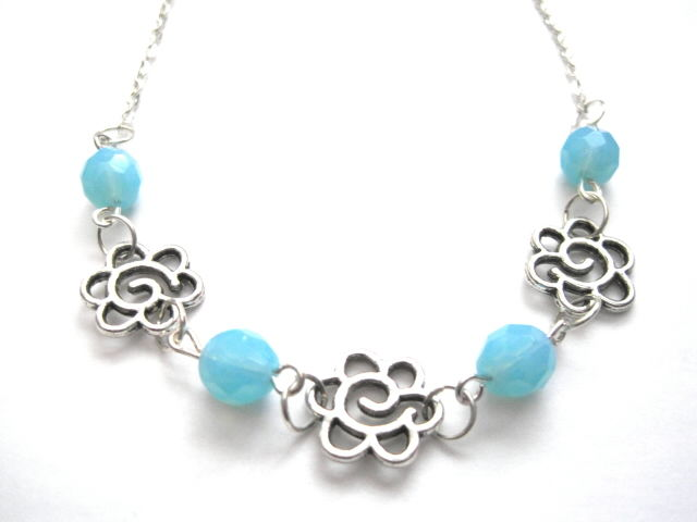 Daisy Link Blue Turquoise Flower Necklace - product images  of