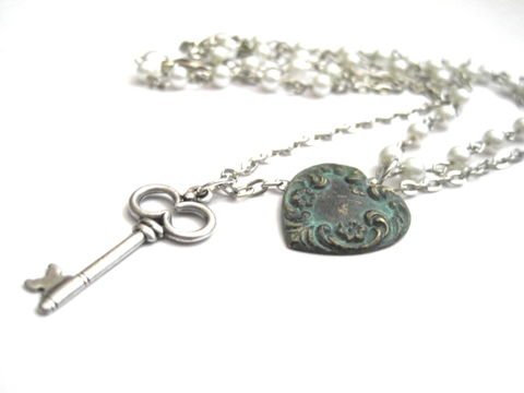 Multi,Strand,Pearl,Heart,Key,Necklace,multi strand necklace, necklace, pearl, pearls, heart, key, verdigris, patina, brass, antique silver, vintage style necklace, victorian necklace, handmade, vamps jewelry