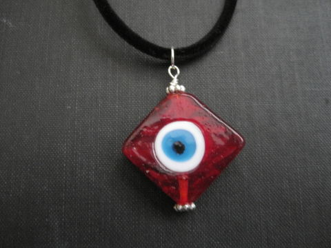 Red,Evil,Eye,Choker,Necklace,Red Evil Eye Choker Necklace, handmade jewelry