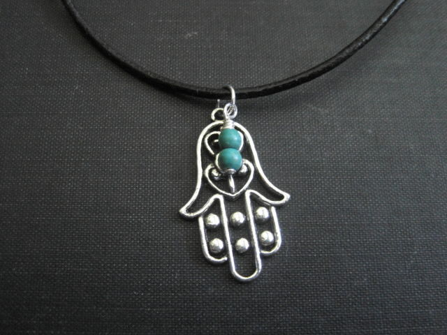 Hamsa Hand Leather Cord Necklace Yoga - product images  of
