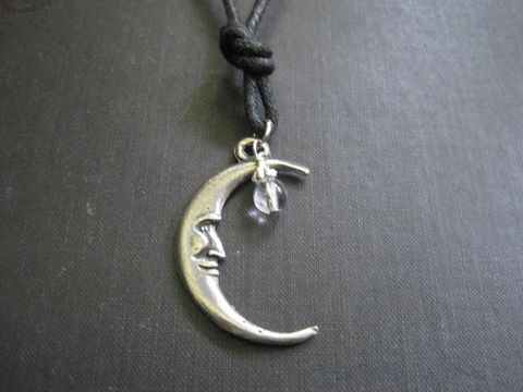 Crescent,Moon,Quartz,Crystal,Cord,Necklace,,Wishes,Crescent Moon Quartz Crystal Cord Necklace, moon wishes necklace, wish amulet