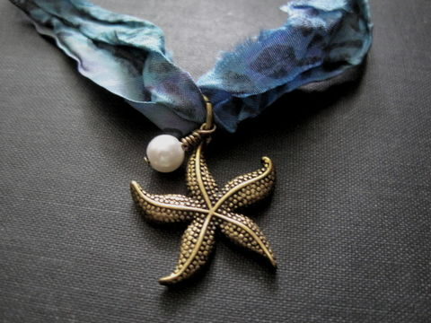 Starfish,Silk,Ribbon,Choker,Necklace, Silk Ribbon, Sari Ribbon, Choker Necklace, Gothic beach jewelry, starfish choker, handmade jewelry