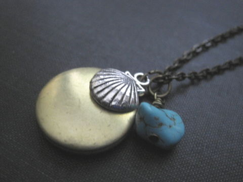 Beach,Sea,Shell,Brass,Locket,Necklace,,Soul,of,The,Beach Sea Shell Brass Locket Necklace, Soul of The Sea, beach jewelry, nautical, oceanic, sea shell