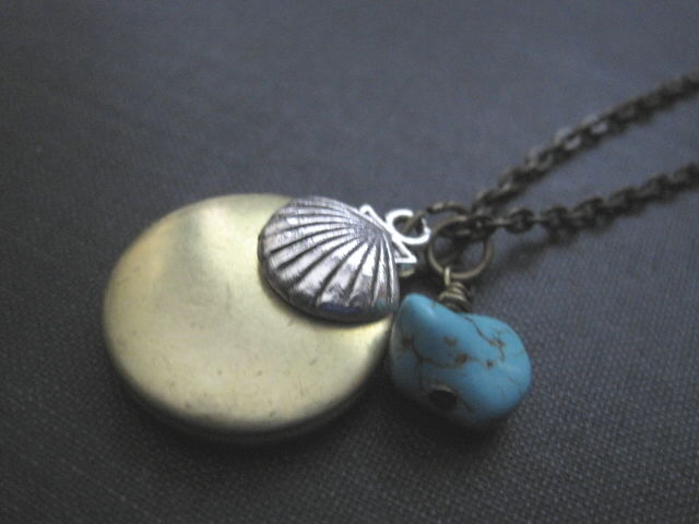 Beach Sea Shell Brass Locket Necklace, Soul of The Sea - product images  of