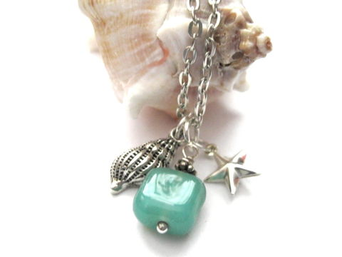 Sea,Shell,Star,Beach,Necklace,Sea Shell Star Beach Necklace, nautical necklace, sea magic necklace, handmade jewelry
