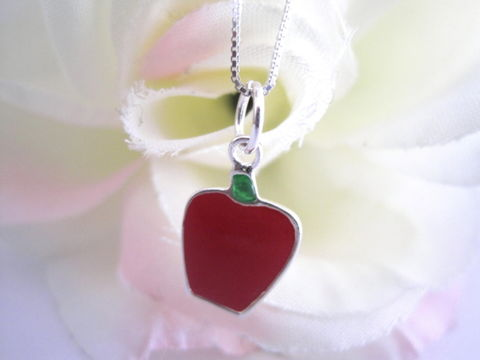 Sterling,Silver,Red,Apple,Necklace,sterling silver, red, apple, necklace, vamp jewelry, handmade, silver, enameled
