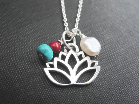 Sterling,Silver,Lotus,Flower,Pearl,Necklace,Sterling Silver Lotus Flower Pearl Necklace, yoga necklace, cultured pearl necklace, turquoise magnesite, red coral, yoga jewelry, handmade jewelry, sterling silver necklace