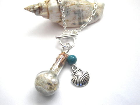 Beach,in,a,Bottle,Shell,Necklace,,Plymouth,Necklace,Beach in a Bottle Necklace, Shell Necklace, handmade jewelry, Plymouth Beach Necklace, nautical necklace, beach necklace, sealife necklace, plymouth MA