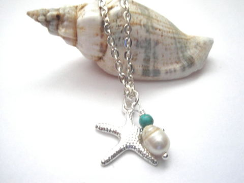 Starfish,Necklace,,Pearl,Turquoise,Magnesite,Beach,Necklace,Starfish Necklace, Sea Star, Fresh Water Pearl, Turquoise Magnesite, Beach Necklace, handmade jewelry, Sea life Necklace, Marine Life, silver, cream, nautical jewelry, beach jewelry