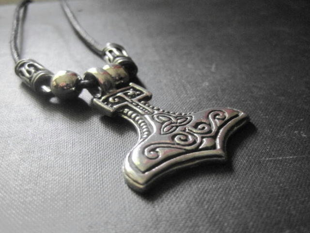 Thors Hammer Cord Necklace, Unisex Necklace - product images  of