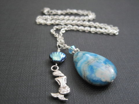 Mermaid,Ocean,Waves,Agate,Necklace,Mermaid Ocean Waves Agate Necklace, beach jewelry, gemstone, crazy agate, sea jewelry