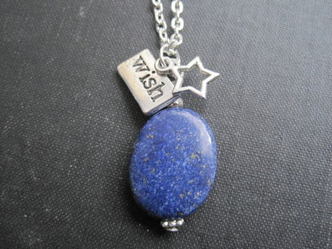 Lapis,Lazuli,Wish,Upon,a,Star,Necklace,Lapis Lazuli Wish Upon a Star Necklace, gemstone jewelry, gemstone necklace, lapis lazuli necklace, blue, handmade jewelry