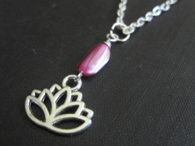 Lotus Flower Mother of Pearl Necklace - product images  of