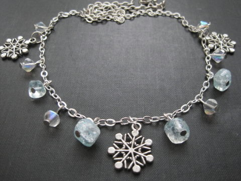 Winter,Snowflake,Charm,Necklace,Winter Snowflake Charm Necklace, handmade jewelry