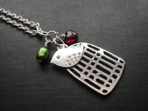 Birdcage,Love,Bird,Necklace,birdcage necklace, love bird necklace, green pearl, freshwater pearl, heart, love, handmade jewelry, christmas colors, jewelry gifts