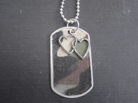 Dog,Tag,Camouflage,Double,Heart,Necklace,Dog Tag Camouflage Double Heart Necklace, military necklace, dog tag necklace, soldier of love, stainless steel dog tags, camo necklace, cami necklace, army, marine