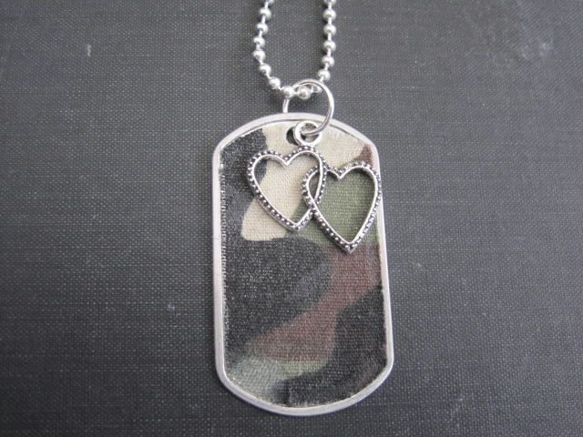 Dog Tag Camouflage Double Heart Necklace - product images  of