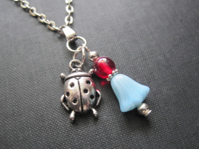 Ladybug Blue Lily Good Luck Necklace - product images  of