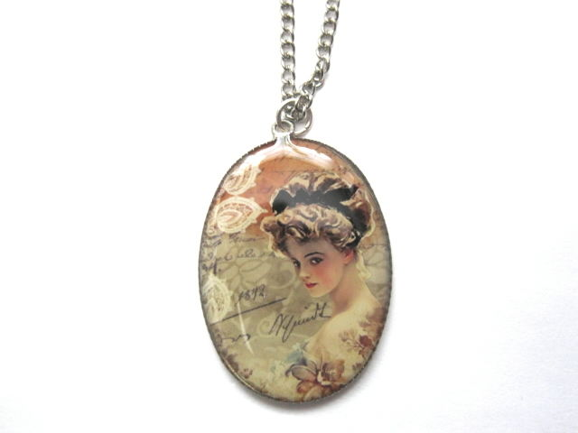 Victorian Lady Antique Silver Cabochon Necklace - product images  of