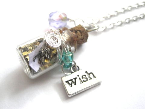 Magic,Wish,Bottle,Necklace,Magic Wish Bottle Necklace, handmade jewelry
