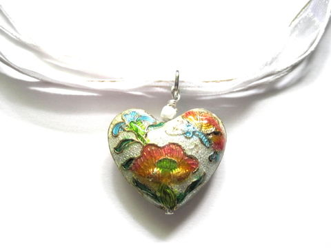 Floral,Heart,Cloisonne,White,Ribbon,Necklace,Floral Heart Cloisonne White Ribbon Necklace, garden in bloom heart necklace, handmade jewelry